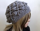 Textural Slouchy Beanie in Pewter/Gray Yarn  - women girl teen - Warm Winter Hat - Boho Indie Design - Ready to Ship