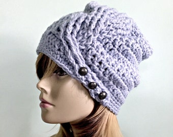Twisted Braid, Button Tab Beanie-  Fall Winter Slouchy Hat with Deep Crown - Braided Cable Texture -  Women Girls Teen - Ready to Ship