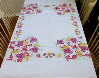 Rectangle Tablecloth Bold Floral Print 1960s Home Decor Vintage Linen