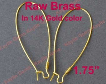 "Raw Brass Coil 1.75"" Tall Elongated Kidney Earring Ear wire in 14K Gold Color - 24pcs"