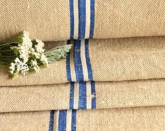 R 431  antique hemp WHITE BLUE upholstery 10.71 yards handloomed french lin benchcushion Beachhouse look