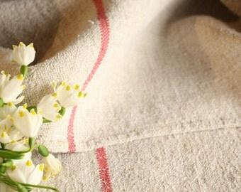 B 88 +B 85: grainsack, Antique linen, ROSE; pillow cushion;  upholstering; bathmath, tabelerunner, christmas, thanksgiving