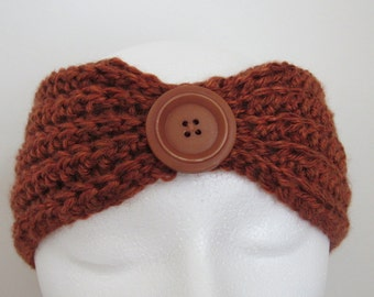 Ready To Ship - Crochet Ear Warmer - Ladies' Rust Ear Warmer - Women's Brown Ear Warmer - Crocheted Rust Ear Warmer - Crochet Headband