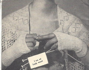Knitted Mitts - Vintage Knitting Pattern 534