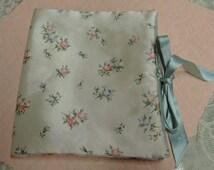 Vintage Satin Lingerie Case With Six Pockets - Floral Satin Handkerchief Case - Satin Stocking Case