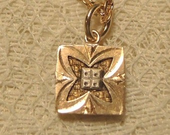 Repurposed 10K Gold Plated Cufflink Pendant Necklace Bridal Jewelry Something Old