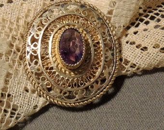 Vermeil Amethyst Brooch/ Pendant - Gold Washed Filigree Brooch/Pendant, REDuCED