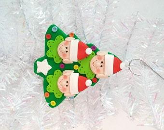 Elf Family of 3 Christmas Tree Ornament - Santa's Elves Ornament - Personalized Christmas Tree Ornament  - Santa's Elf Tree Ornament - 81212
