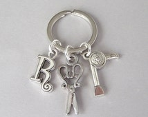 Personalized hairstylist keyring, hairdresser keychain, hair dryer key ring, scissors keyring, initial charm, cosmetology, beautician