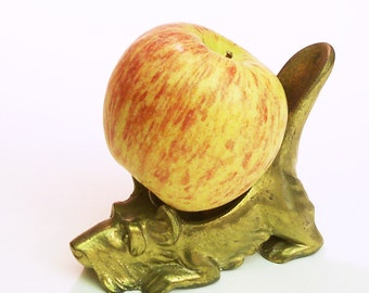 Scotty Dog Vintage Brass Metal Pipe Holder paperweight trinket holder Scottish Terrier