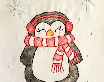 Penguin Crayon Tinted Hand Embroidery PDF Pattern and Instructions by Seasons of Joy on Etsy//Beginner//Digital Download