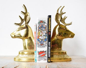 brass deer bookends, vintage deer head bookends, large brass deer bookends