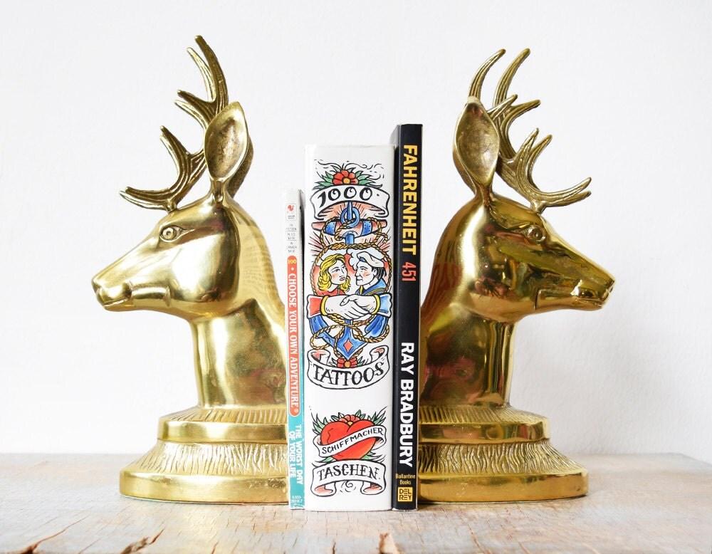 Brass deer bookends vintage deer head bookends large brass - Deer antler bookends ...