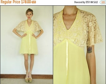 SUMMER SALE Vintage 60's Floral Crochet Cape Boho Dolly Yellow Empire Bow Mini dress XS S