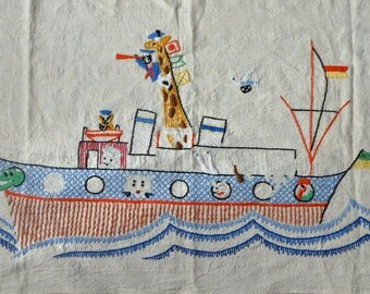 Noah's Ark Embroidered Wall Hanging/Vintage c. 1970s/Cotton Panel With Animal Sailors On Steamship/Child's Room Decor