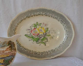 Soft Floral Creamware Platter/Staffordshire Devon-Ware Pottery/English Country House Platter