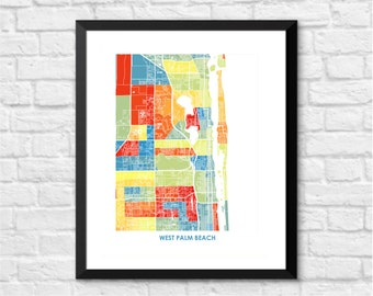 West Palm Beach Map Print.  Choose the Colors and Size.  Florida City Art.  FL Local Decor.