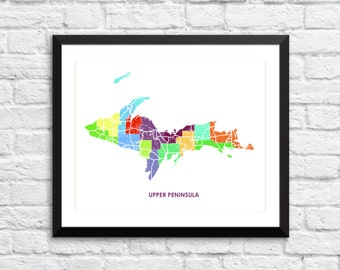 Upper Peninsula Map Print.  Choose your Colors and Size.  Michigan Local Art.