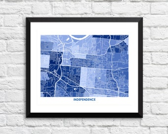 Independence Missouri Art Map Print.  Color Options and Size Options Available.  Map of Independence MO.