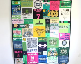 Custom Memory Blanket - Extra Large - T Shirt Memory Quilt  - Crazy Quilt  - Graduation Gift - Father's Day Gift