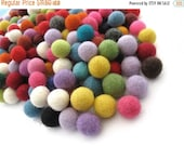 ON SALE 15% OFF Felt Balls Color Mix - 50 Pure Wool Beads 15mm - Multicolor Shades -   (W250A)