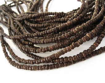 Tiny brown coconut beads 2-3mm  (PC230B)