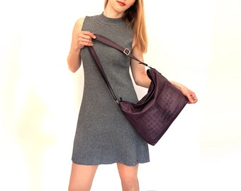 "large zipper shoulder bag, lined purple leather bag with pockets - genuine cow leather tote - italian quality leather ""BEATRICE"""