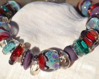 Reserve for Annie-WINE COUNTRY-Handmade Lampwork and Sterling Silver Bracelet