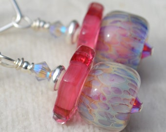 Reserve for Annie-LOVELYLICIOUS-Handmade Lampwork and Sterling Silver Earrings