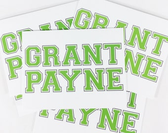 Personalized Stationery for Athletes Custom Thank You Notes for Boys Stationary for Athletic Teens by Lime Green Rhinestones