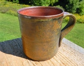 Wood-fired seto mug, coffee mug, split-fire pottery, rustic, ceramic, pottery, ochre mug, satin surface, wood-fired, wood fired, orange