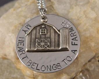 My Heart Belongs to a Farmer Handstamped Necklace w/Barn