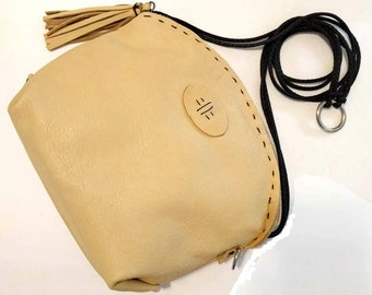 Pale Yellow Italian Leather Cross Body Half Moon Paradise Hand-Stitched