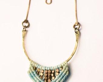 Calliope Necklace in Aqua with smoky quartz