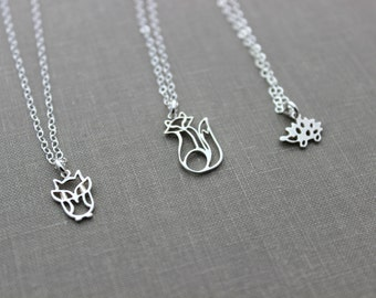 Woodland Necklace - choice of Baby owl, fox or hedgehog - all sterling silver, wild animal necklace, tiny charm necklace, gift for her