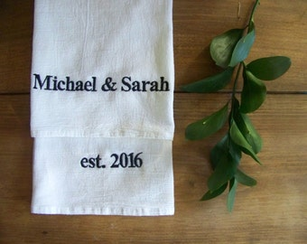 free shipping / set of 2 personalized tea towels / wedding gift / anniversary / engagement / embroidered / monogram / custom /