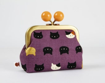 Metal frame coin purse with color bobble - Neko cats on purple - Color dad / Kawaii japanese fabric / black white caramel brown
