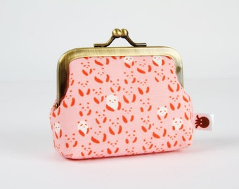 Metal frame change purse - Panda bebe in pink - Deep mum / Japanese fabric / Cotton and Steel / Alexia Abegg / Cute tiny pandas / red white