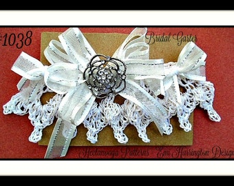 BRIDAL GARTER - Crochet PATTERN- diy, make any size, easy pattern, wedding accessories, #1038