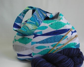 Project bag - medium size japanese knot bag - for knitting crochet amigurumi - blue fish and wave print - free knitting pattern too