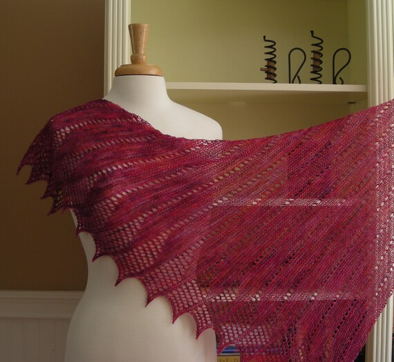 Lace Shawl Knitting Pattern PDF - Mistral Shawl - French inspired asymetric t...