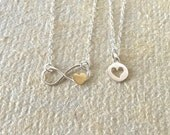 Mother Daughter Necklace Set, Mother Daughter Jewelry, Silver Infinity Heart Pendant, Mom Daughter Gift Set, Valentine Jewelry