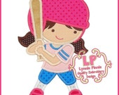 Girs Personalized Baseball Girl Design  Appliqued Tee T Shirt or Onesie