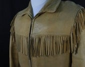 Vintage 40s 50s Western Ranch Worn Leather Fringe Mens Jacket Belted Back S M