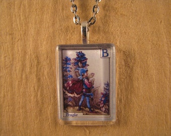 Bugle Flower Fairy Letter B Small Flat Rectangle Glass Pendant with Chain Necklace Cicely Mary Barker Watercolor Flower Alphabet