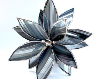 3D Stained Glass Flower Suncatcher -Best Seller - In Full Bloom  Black and Gray Flower