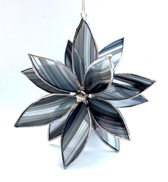 3D Stained Glass Flower Suncatcher -Best Seller - In Full Bloom  Black and Gray Flower