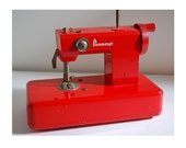Vintage Toy Sewing Machine Penneys Red Metal Made in Japan Child Craft Play Doll Seamstress Pretend Make Believe Display Decor Dolly