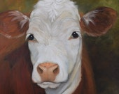 Cow Portrait,Hereford Cow Painting,Orbia Mae, 16x16 Canvas Oil Original by Cheri Wollenberg