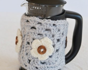 3 Cup Crochet Caffettiere Cozy Grey with Flowers